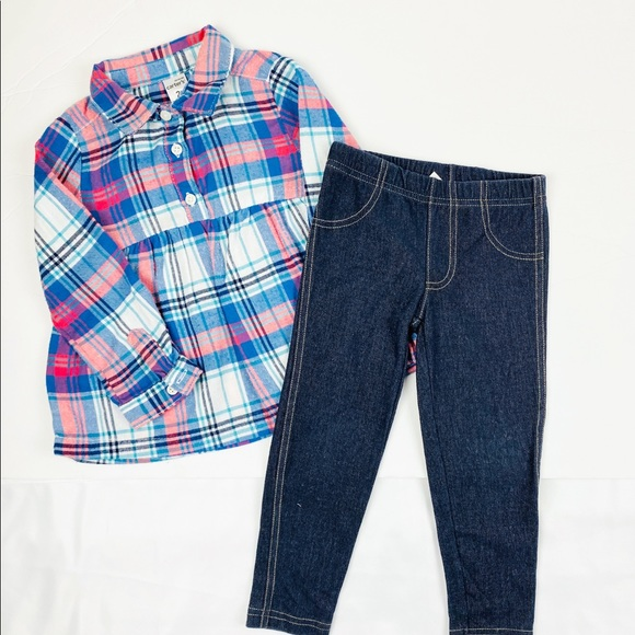 Carter's Other - Carter's Fall Plaid Long Sleeves Matching Set 2T